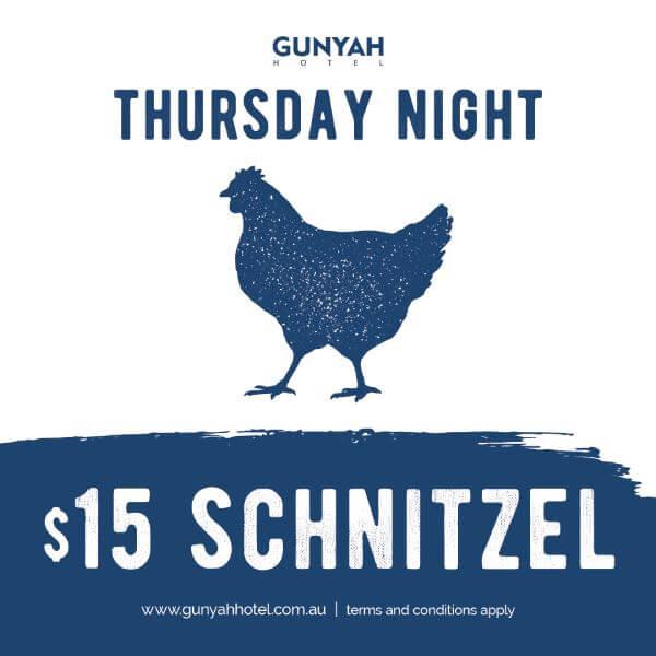 Thursday Night Special $15 Schnitzel